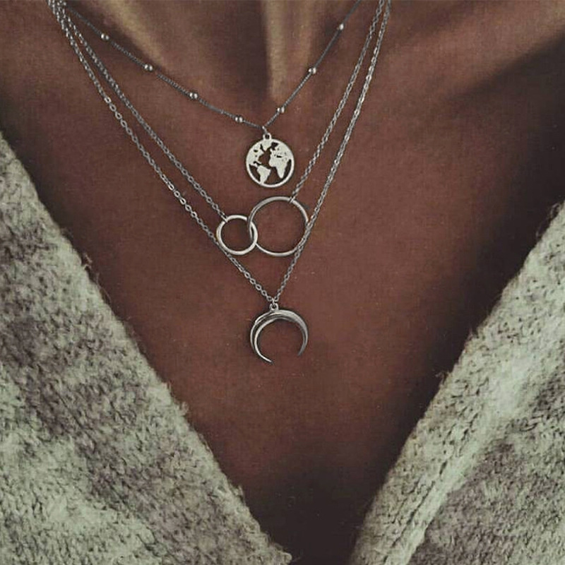 New Fashion Retro Moon World Map Circle Pendant Multilayer Gold Colodr Necklace Party Charm Jewelry Accessories For Women