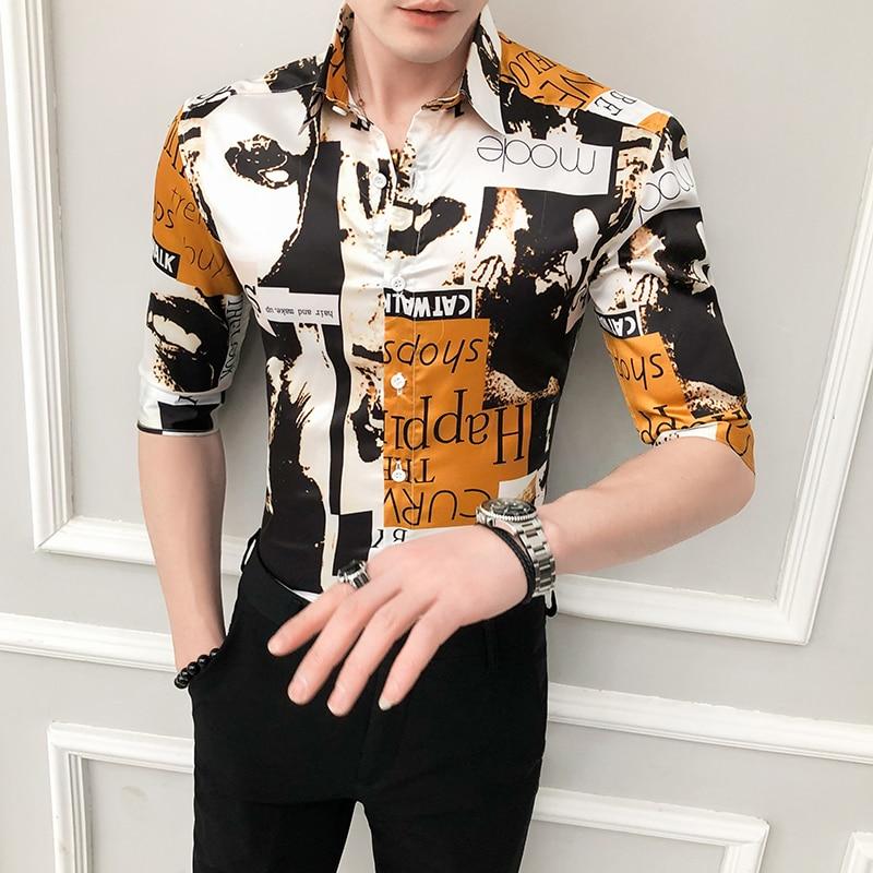 British Style Digital Print Shirt Men 2020 Spring Summer Half Sleeve Mens Casual Shirts Slim Fit Streetwear Party/Prom Tuxedo