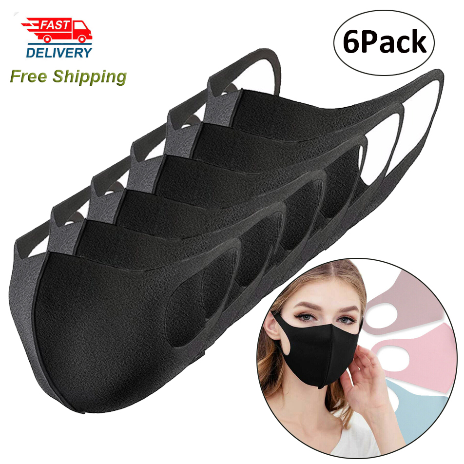6Pack Black Cotton Mask Washable Face Mouth Mask Breathing Muffle Riding Outdoor Masks
