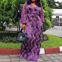 Фиолетовое платье макси в пол с v-образным вырезом и рисунком, африканские женские повседневные свободные осенние платья на шнуровке с длинным рукавом для девушек