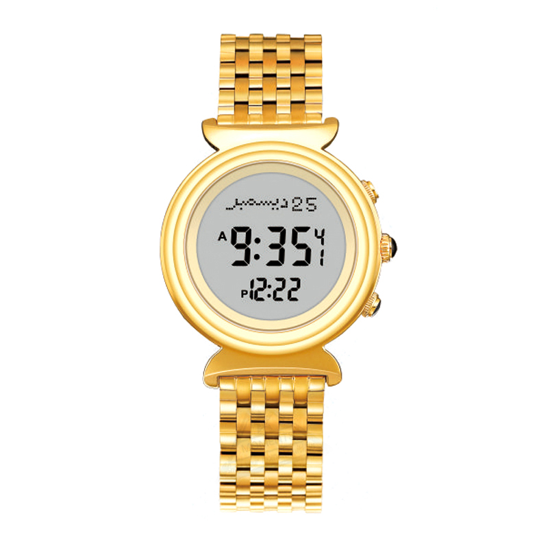 AL Harameen Fajr Time Watch with Azan and Qibla Direction Water  Resistant Stainless Steel Islamic Lady Prayer ClockWomens Watches   -