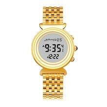 ら harameen ファジル時間時計アザンとキブラ方向と防水ステンレス鋼イスラム女性の時計