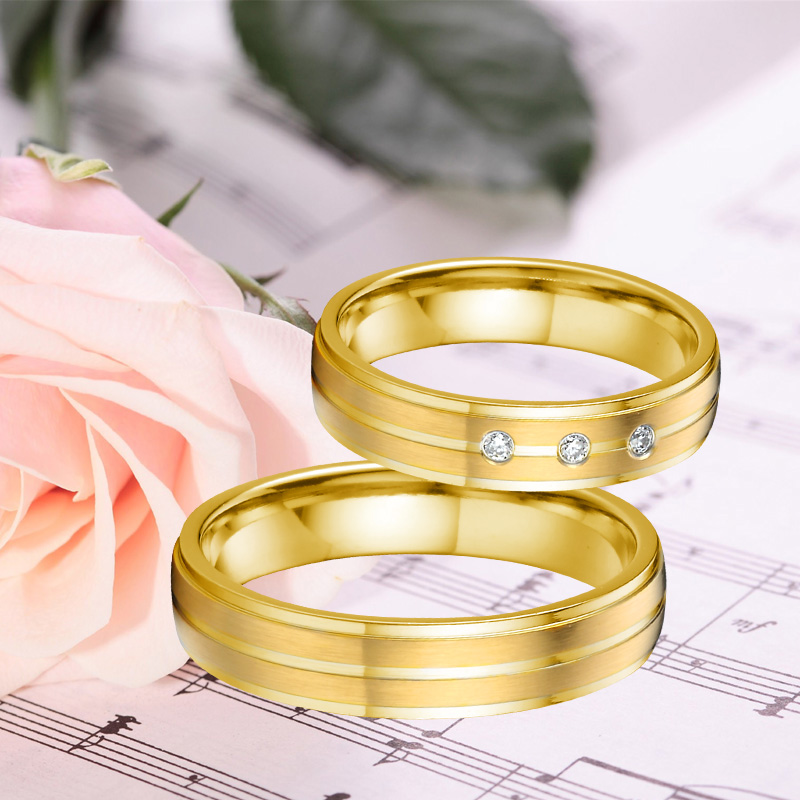 Anniversary Wedding Band Promise Ring men Alliances Gold Color Titanium stainless Steel jewelry Couple Rings for women