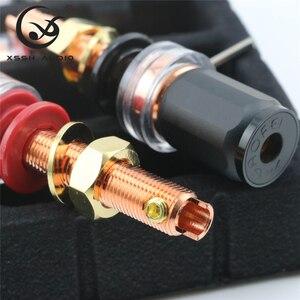 Image 3 - 4 adet 8 adet XSSH ses HIFI gerçek kırmızı bakır muz fiş dişi soket hoparlör güç amplifikatörü terminali uzun kısa bağlama sonrası