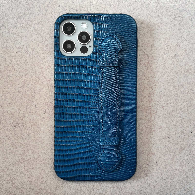 Blue Genuiune Leather Hand Strap Holder Case For Iphone 12 Pro Max 12Pro 2020 5G Phone Luxury Cute Lizard Slim Cover Accessories