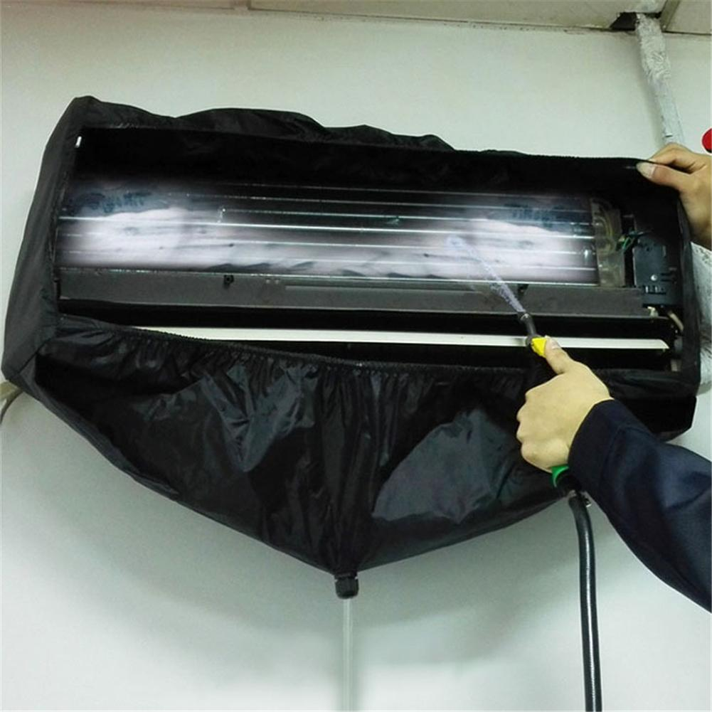 Black Air Conditioner Cleaning Dust Washing Cover Hanging Waterproof Protector Bag Household Cleaning Dust Cover For 1.5P 3P