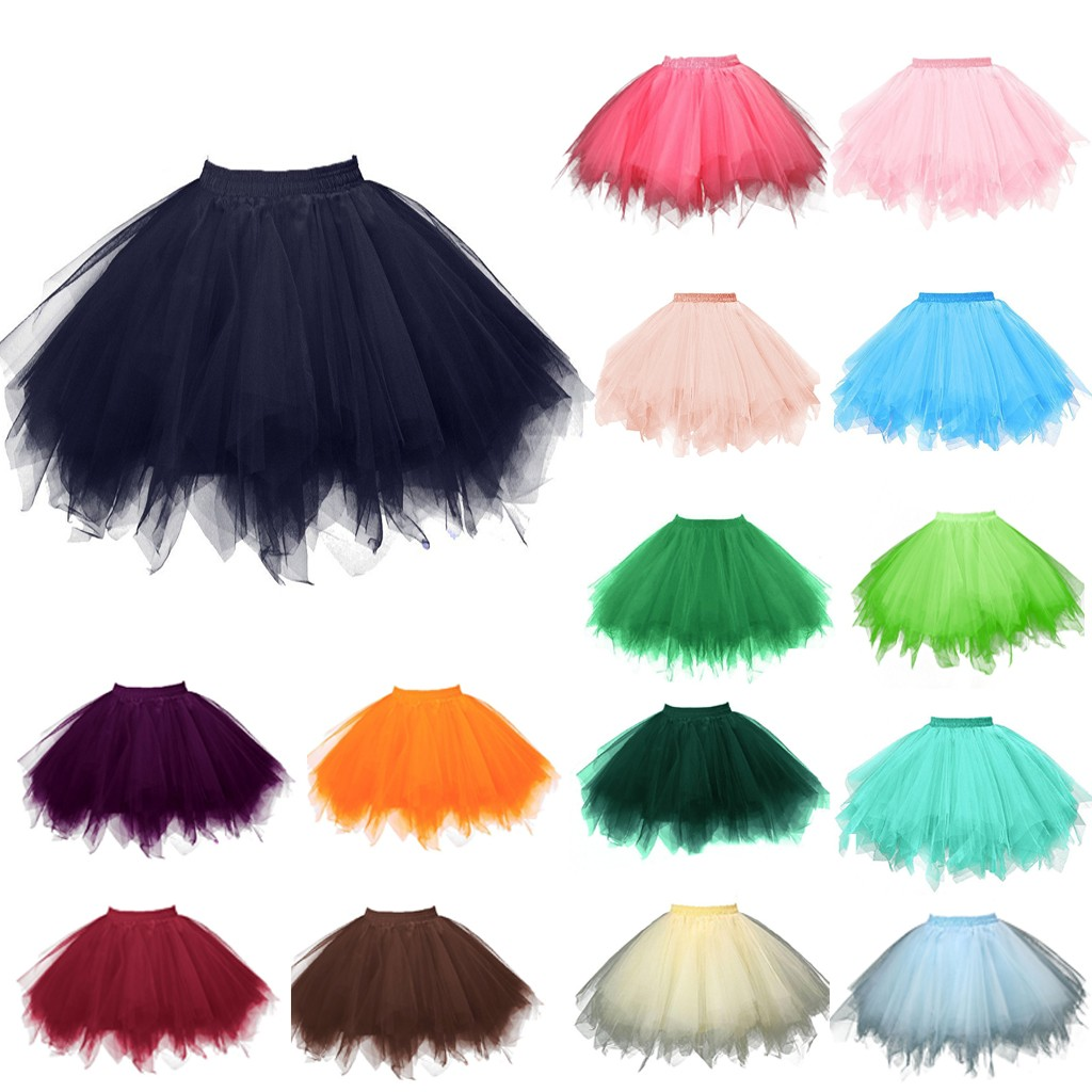 Solid Color Skirt Womens High Quality Pleated Gauze Short Skirt Adult Tutu Dancing Skirt Dropshipping ##6