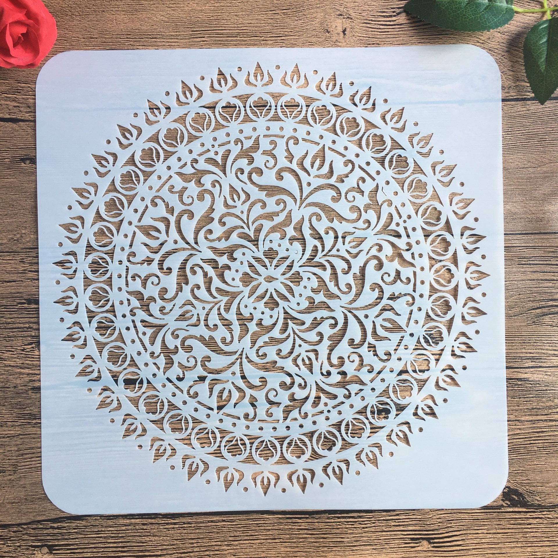 30 * 30 Cm Large Round Flower Mandala Diy Stencil Painting Scrapbook Coloring Engraving Album Decoration Template Stencil -c
