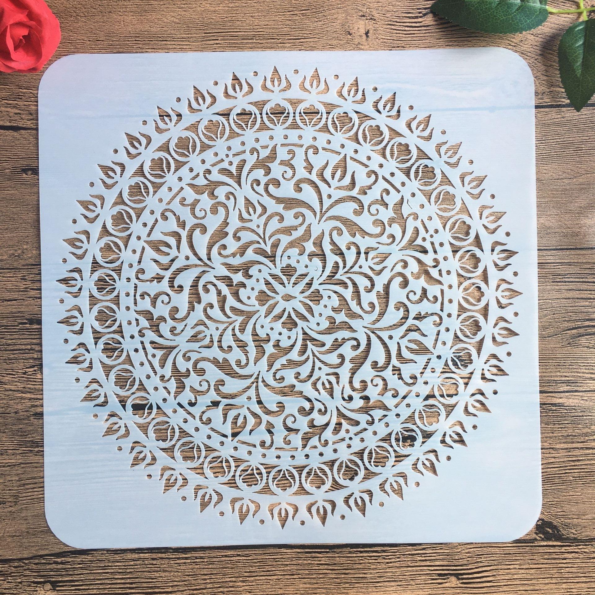 30 * 30 Cm Large Round Flower Mandala Diy Stencil Painting Scrapbook Coloring Engraving Album Decoration Template Stencil -c