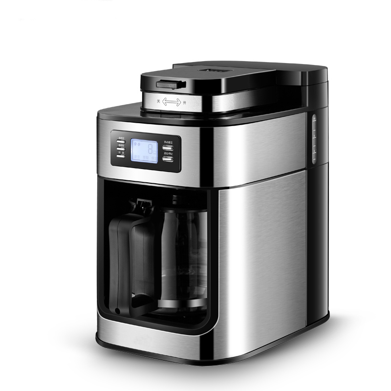 220V Cafe American Fully Automatic Coffee Machine Drip Electric Coffee Maker Household Geyser Coffee Maker Bean Powder Dual Use