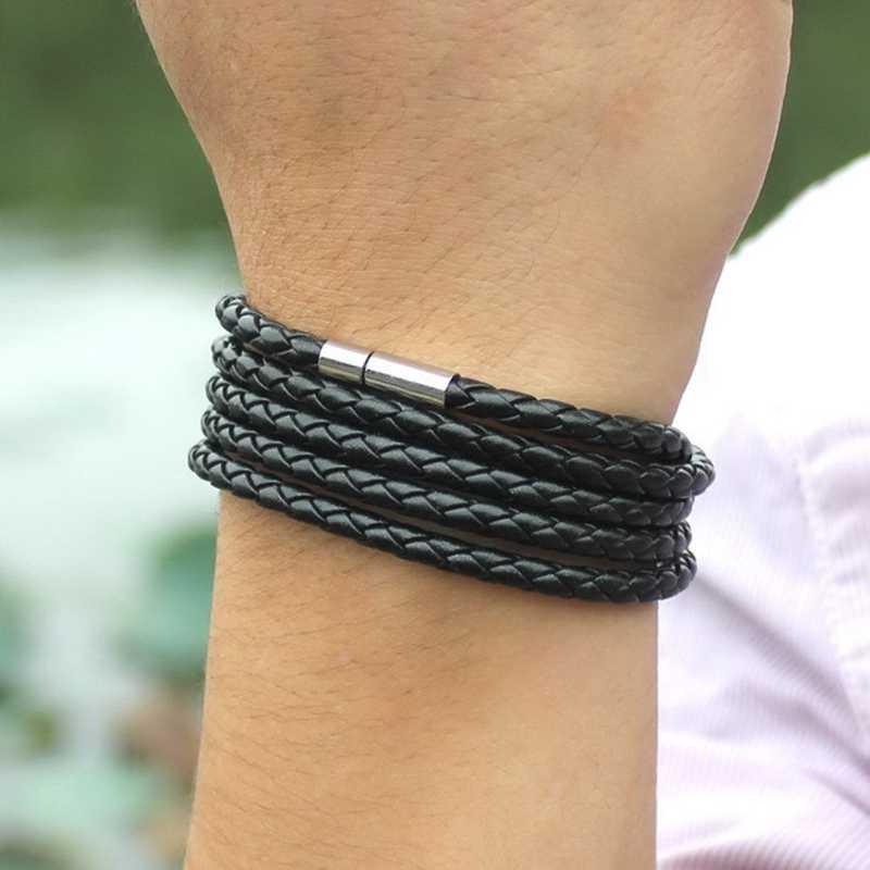 جودة متعددة الطبقات حبلا التفاف الرجال سوار من الجلد الأسود مع قفل المغناطيس