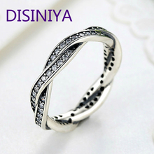 лучшая цена DISINIYA   8 STYLE BRAIDED PAVE LEAVES   My Princess  Queen Crown SILVER RING Twist Of Fate Stackable Ring ANNIVERSARY SALE 2019