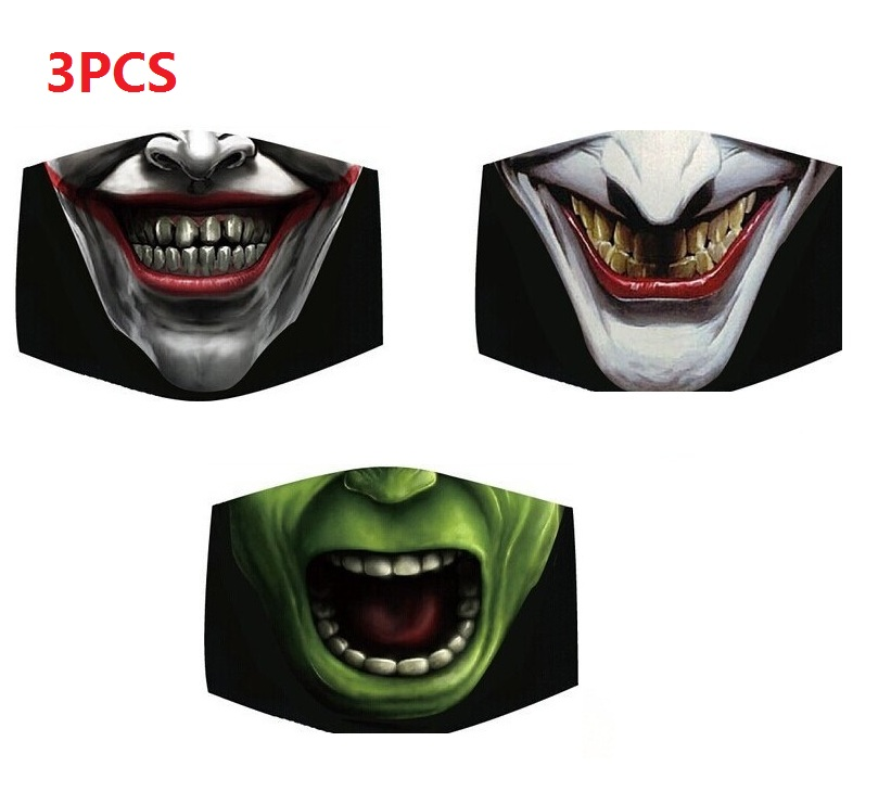 3Pcs Cotton Dust Mask Cartoon Expression Teeth Muffle Chanyeol Face Respirator Anti Pollution Mouth Mask 2020 Newest Style