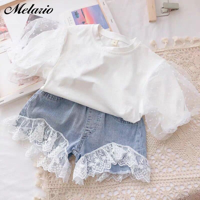 H2c8f63deb3494f0db0a46a9c9a4654f9F Melario Kids Girls Clothing Sets Summer Baby Girls Clothes T-Shirt and Jeans Shorts Suit 2Pcs Children Clothes Suits
