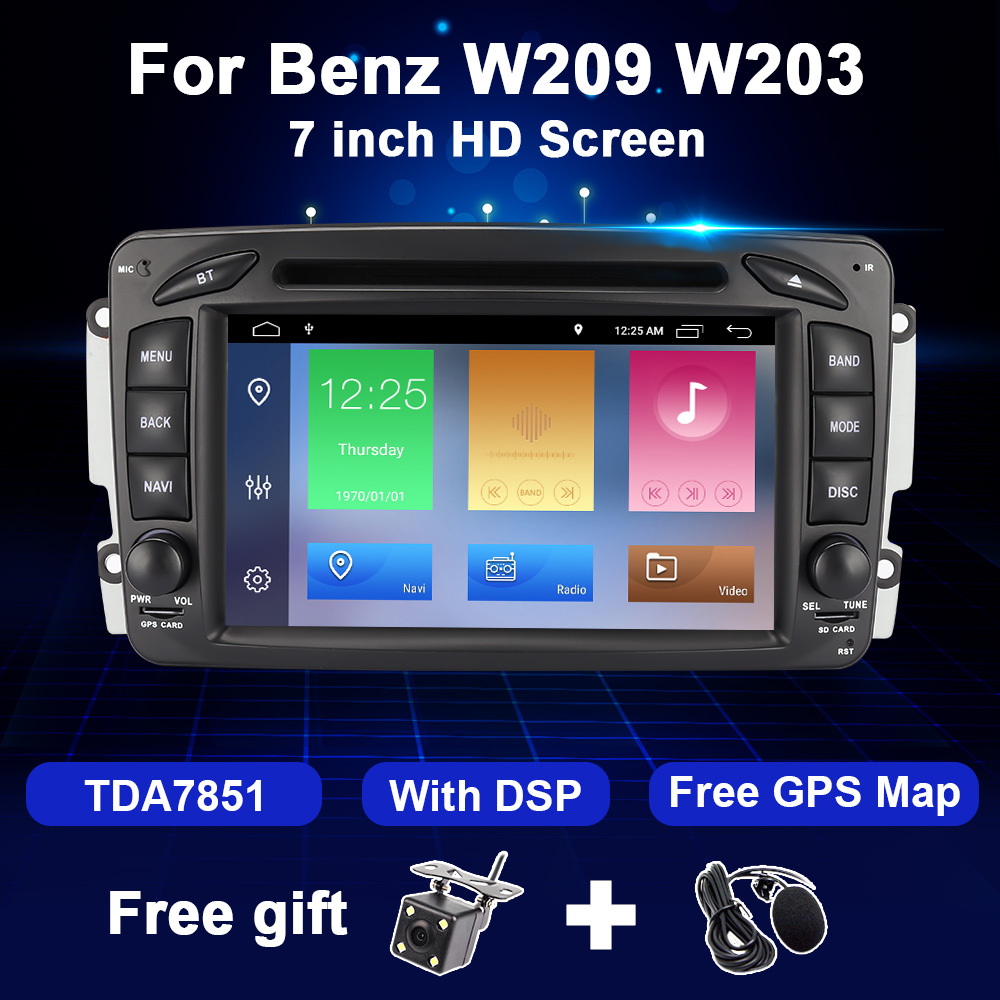 2 Din <font><b>Android</b></font> 10 Car Radio Multimedia For <font><b>W203</b></font> W209 Mercedes Benz CLK W208 W210 W463 Vito Viano Audio Video Navigation GPS DVD image