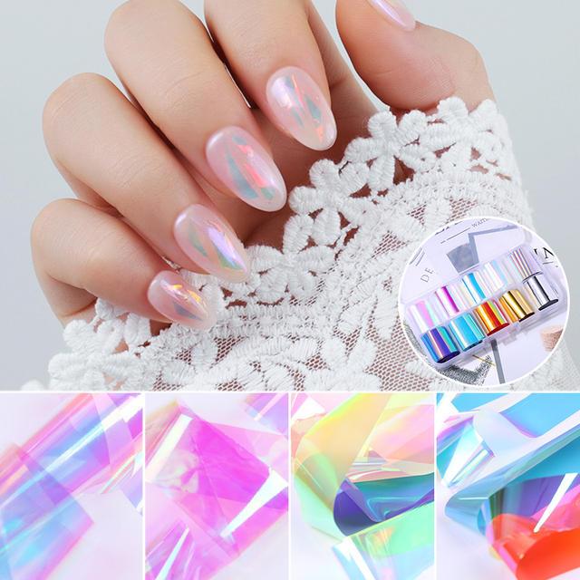 1 Box/Pack Nail Foils Glass Paper Nail Art Transfer Sticker Fashion DIY Nail Art Decal Sticker Nail Design Decoration