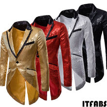 HOT Mens Shiny Luxury tuxedo Blazers Designs Fashion Gold Sequins Suit Male Nigh