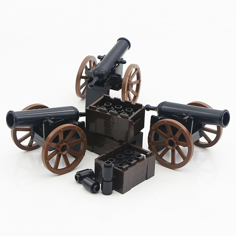 LegoINGlys WW2 Military Blocks Roman Army Medieval Soldier Parts Knight Cannon Accessories Brick Gun Carrier Weapon Building Toy