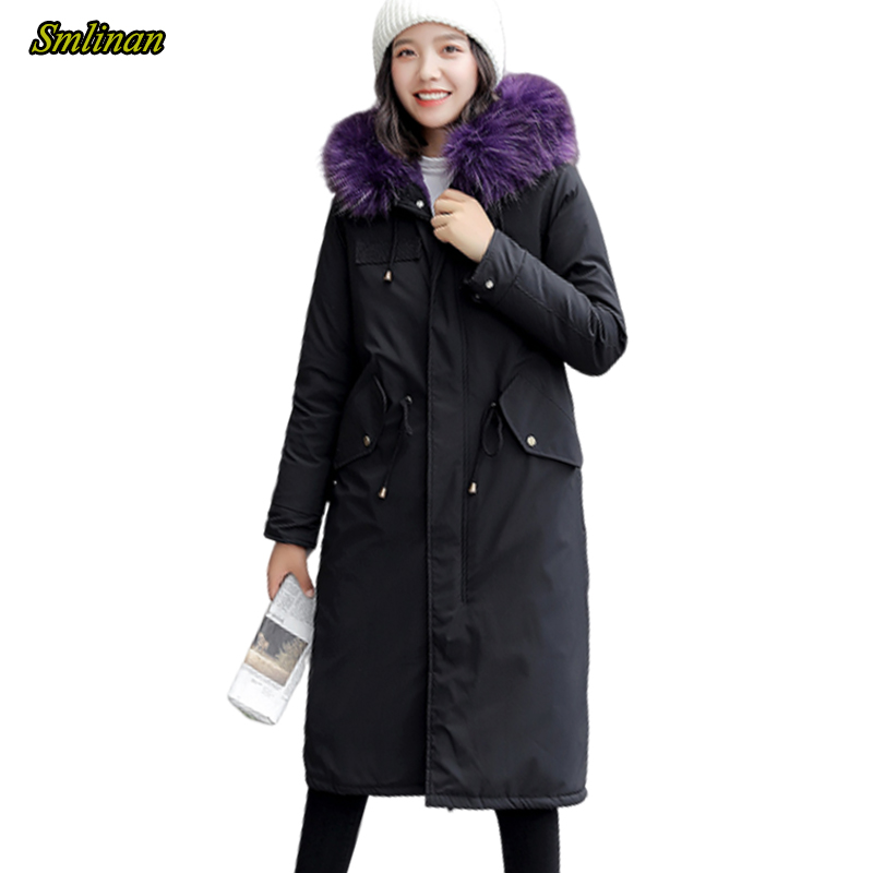 Smlinan Winter Long Parka Mujer Thickening Warm Cotton Liner Padded Jacket Outwear Women Plus Size Fur Collar Hooded Coat Female