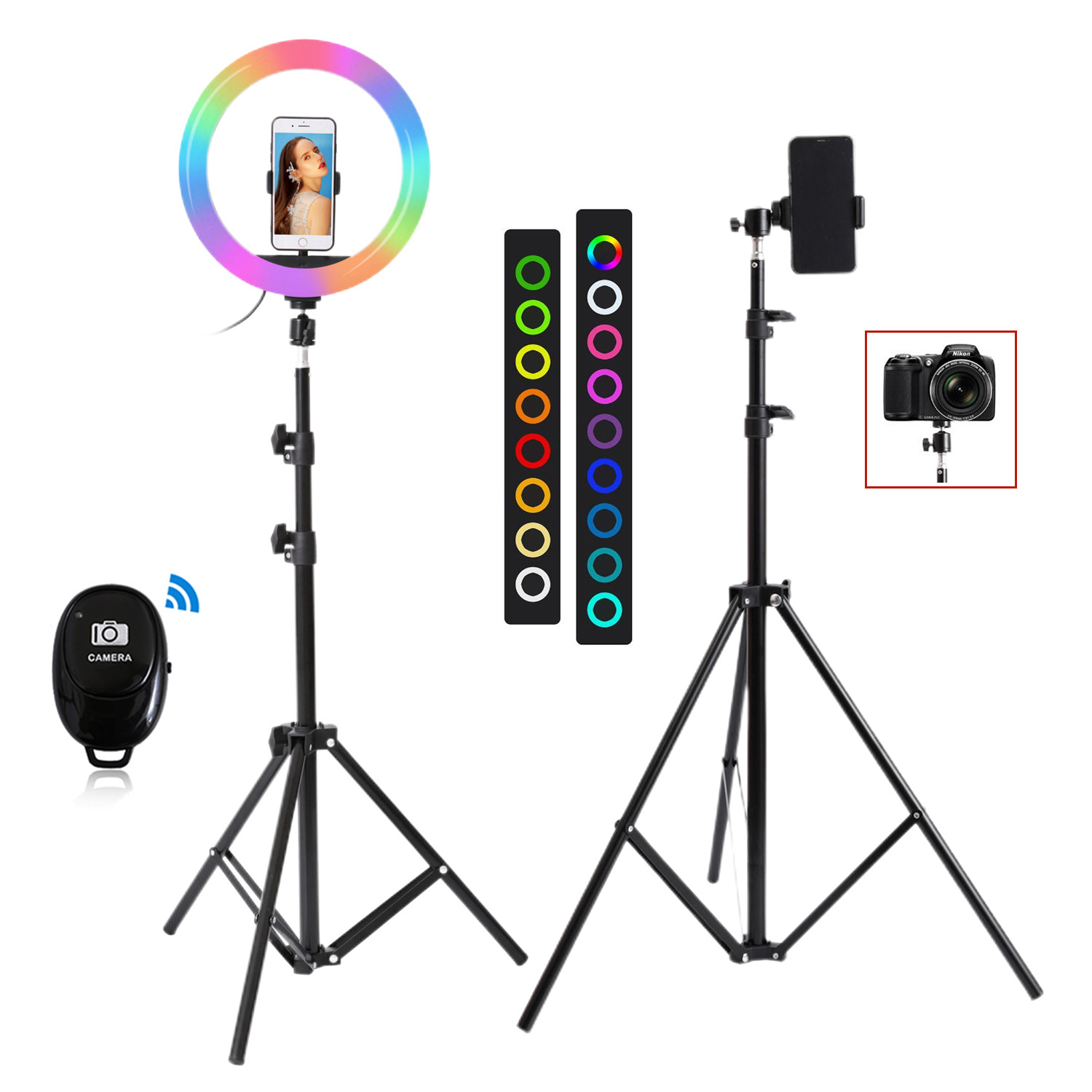 26cm 33cm RGB Selfie Ring LED Light with Stand Tripod Photography Studio Ring Lamps for Phone Home v7 VC