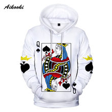 hoodie sweatshirts Hot 3D Poker KING QUEEN Hoodies Sweatshirts Men/women KING QUEEN Hooded Spring Funny Playing Cards Poker