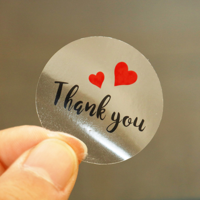 60pcs Transparent Thank You Stickers Round Red Heart  PVC Stationery Stickers Scrapbooking Diary Deco Seal Stickers
