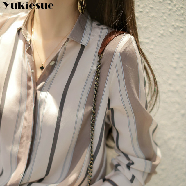 summer long sleeve striped women's shirt blouse for women blusas womens tops and blouses chiffon shirts ladie's top plus size 2