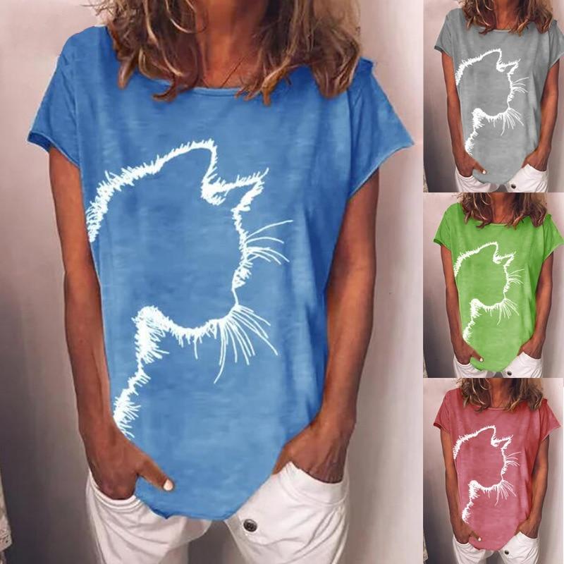 Женская летняя хлопковая футболка с короткими рукавами, с принтом, футболка с круглым вырезом, футболка повседневные свободные плюс SizeLadies М...