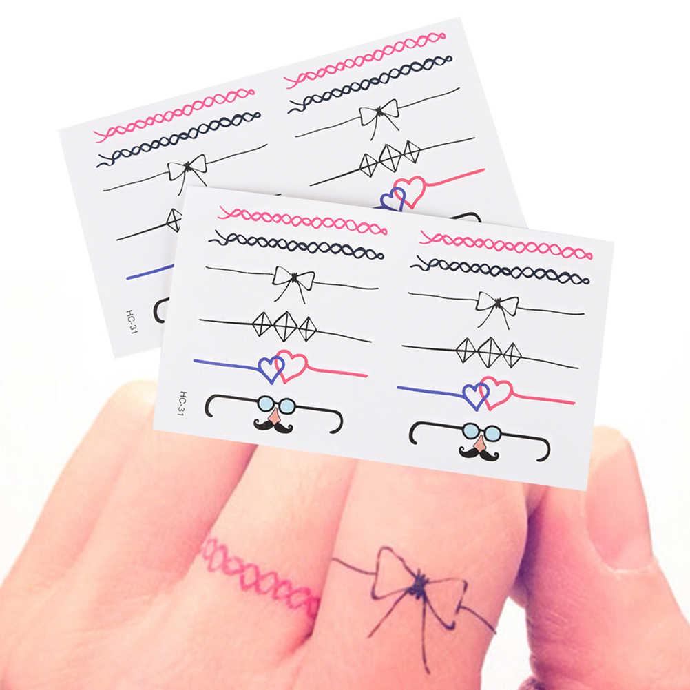 2 шт. водостойкая временная татуировка наклейка на палец кольцо для девушек