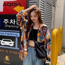 AQOIA – chemisier à manches longues pour femme, ample, boutonné, style coréen, printemps 2021
