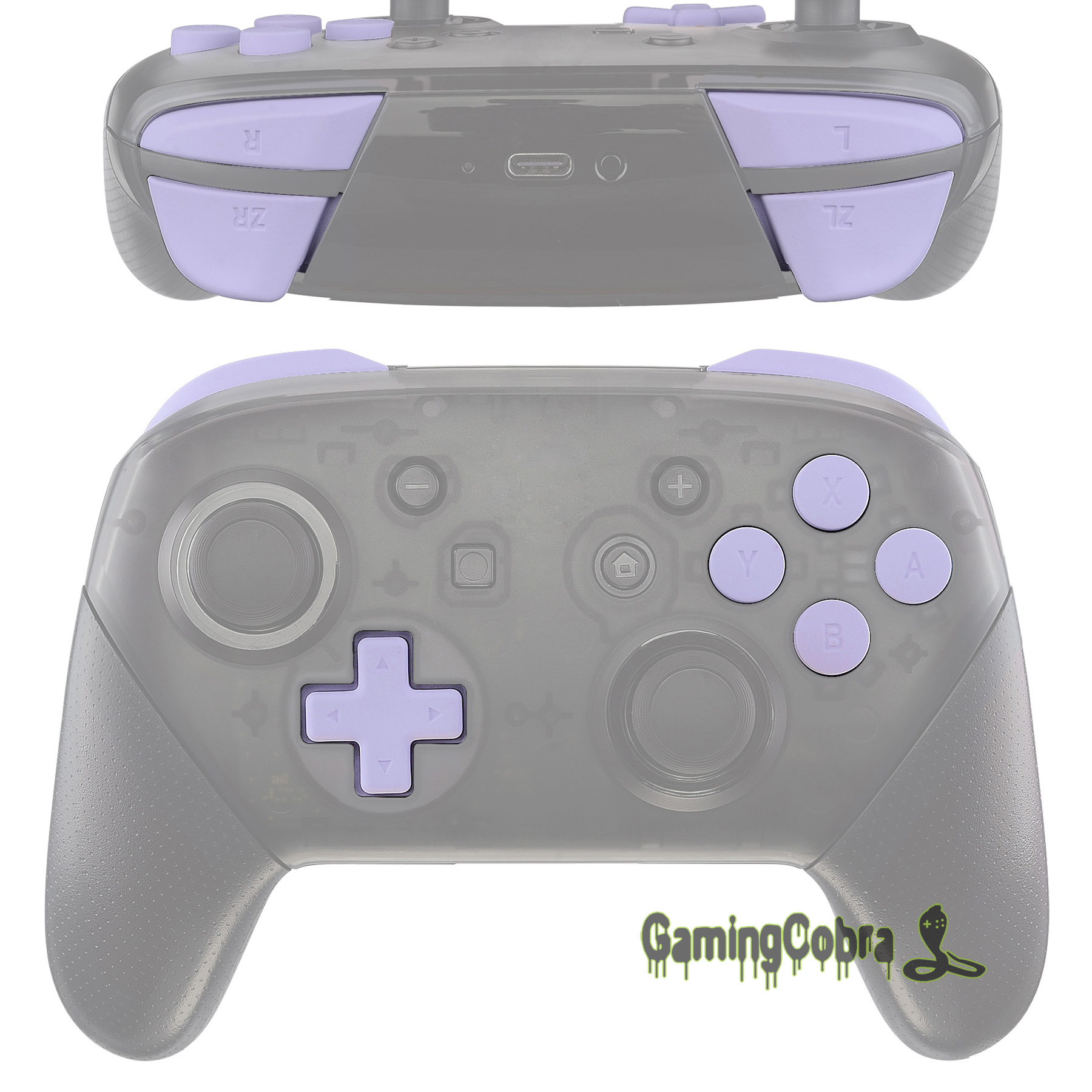 Soft Touch Light Violet Repair ABXY D-pad ZR ZL L R Keys Full Set Buttons w/ Tools for Nintendo Switch Pro Controller