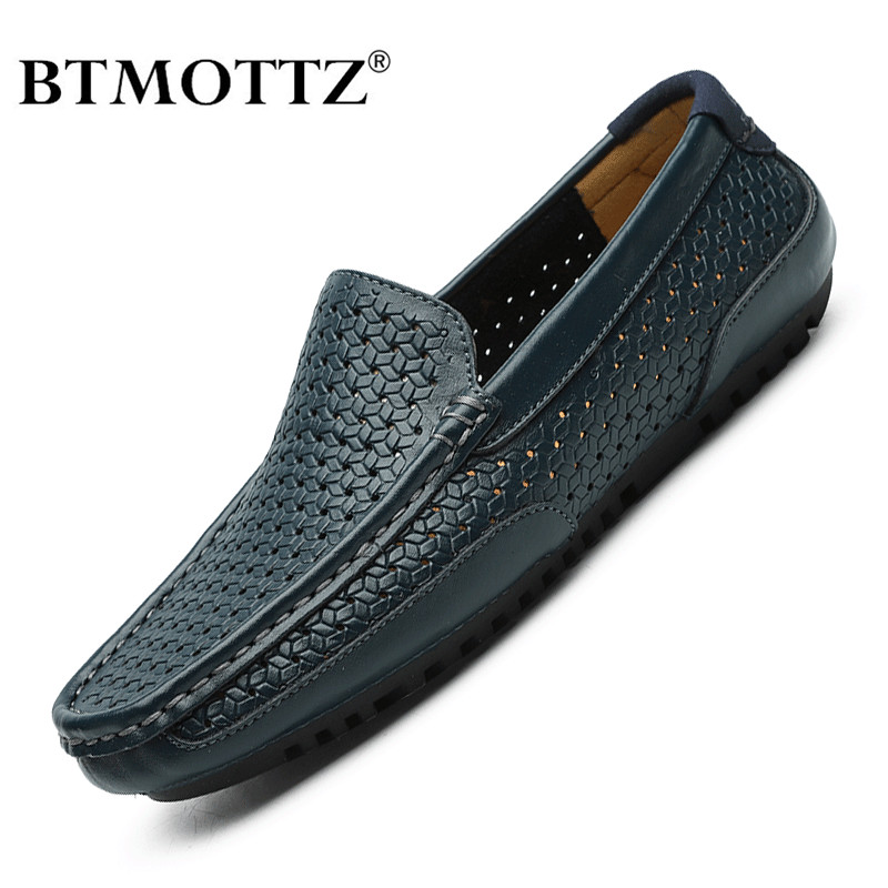 Men Casual Shoes Luxury Brand Summer Genuine Leather Mens Loafers Moccasins Hollow Out Breathable Slip On Driving Shoes BTMOTTZ