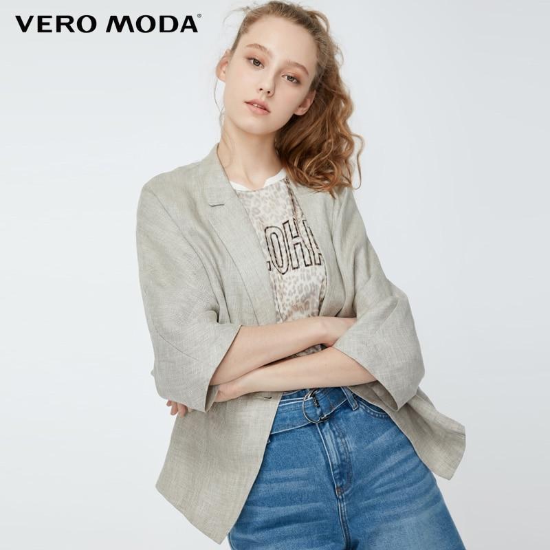 Vero Moda Women's 100% Linen Lapel Sleeves Blazer | 319208514