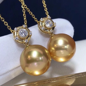 Pearl Pendant 12-13mm Fine Jewelry 18K Gold Natural Ocean Golden Pearl Pendant Necklaces for Women FIne Pearls Pendants 2