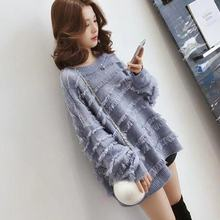 Fashion casual loose medium long knitting sweater / thickened top for women