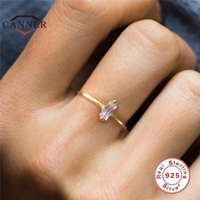 Простое геометрическое Золотое обручальное кольцо с кубическим кристаллом циркония для женщин, серебро 925 пробы, обручальные кольца, модны...