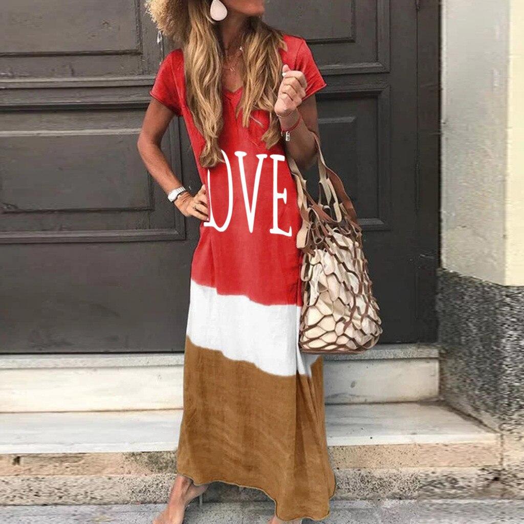 2020 Maxi Long Dress Summer Dress Women Letter Print Patchwork Sundress Casual Loose Plus Size Sexy V Neck Vestidos 7