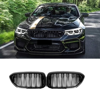 Front Bumper Kidney Grille Grill for BMW G30 G31 G38 5 Series 525I 530I 540I 550I with M-Performance Black Double Line Kidney Gr made in taiwan carbon fiber material m5 look front kidney grill grille for bmw 5 series f10 sedan 2010 520i 525i 530i 535i