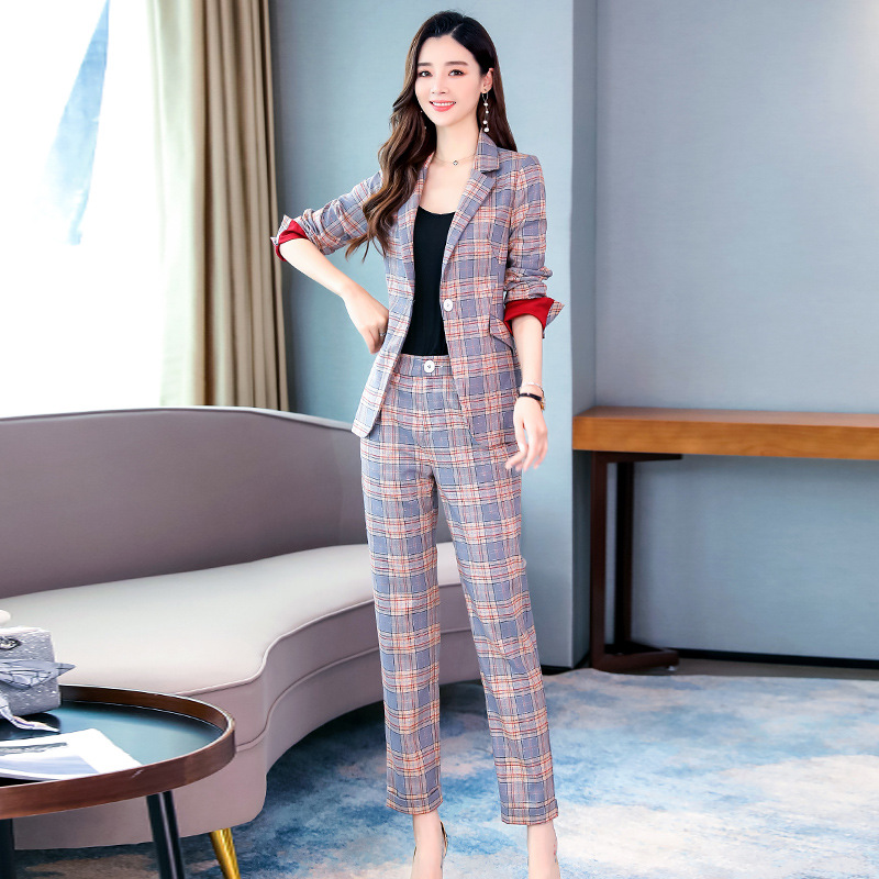 High Quality Plaid Suit Set Female Pants Suit Temperament Slim Long Sleeve Plaid Women's Blazer Business Office Suit Two-piece