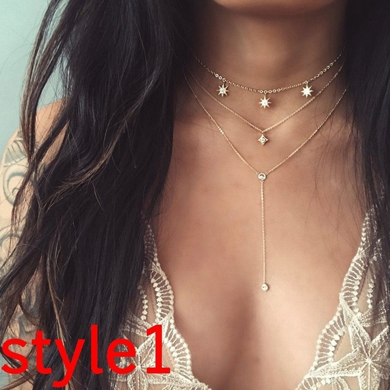 feecolor Vintage Exquisite Multilayer Pendant Charm Creative Simple Elegant Moon Pendant Collar Choker Necklaces Set Accessories in Chain Necklaces from Jewelry Accessories
