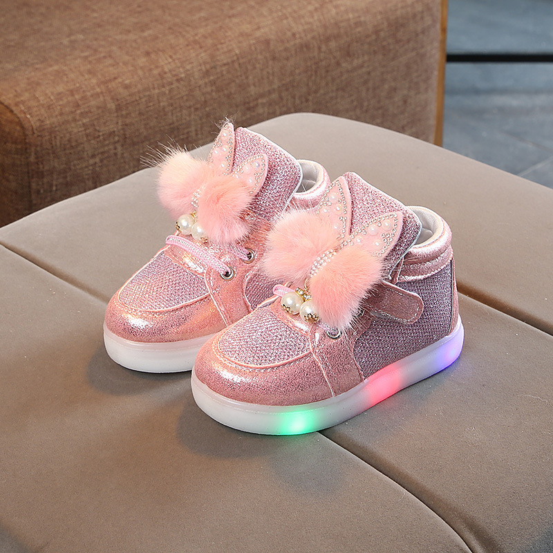 Autumn Children LED Shoes Girls Fashion LED Lights Soft Casual Sports Walking Toddler Baby Shoes For Kids