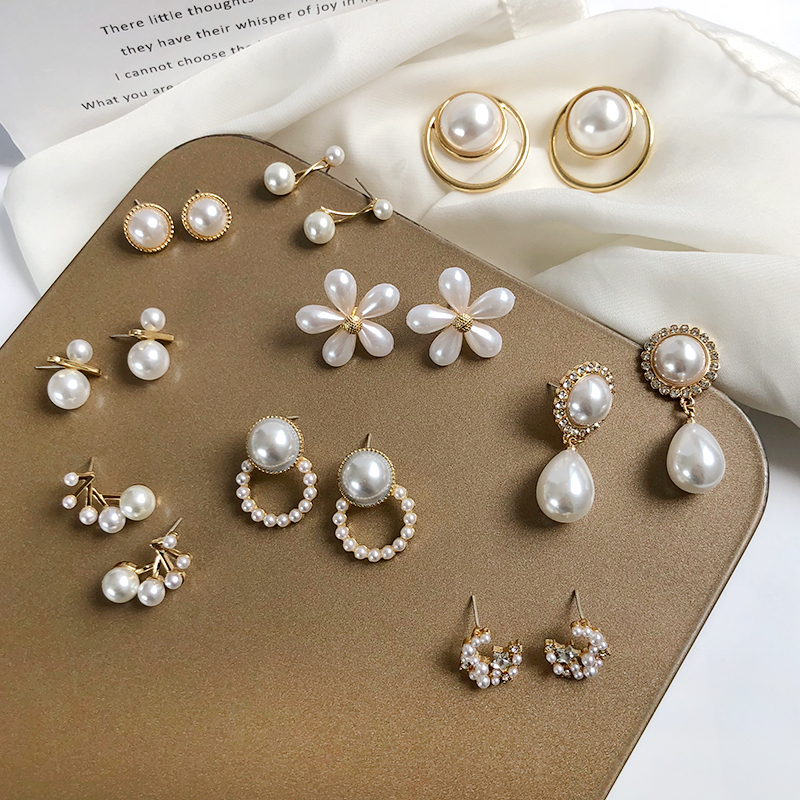 S925 needle Korea Design Stud Earrings Metal Geometric Irregular Circle Teardrop Simulated Pearl Earrings For Women Girl Gift