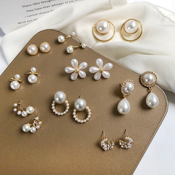 S925 needle Korea Design Stud Earrings Metal Geometric Irregular Circle Teardrop Simulated Pearl For Women Girl Gift