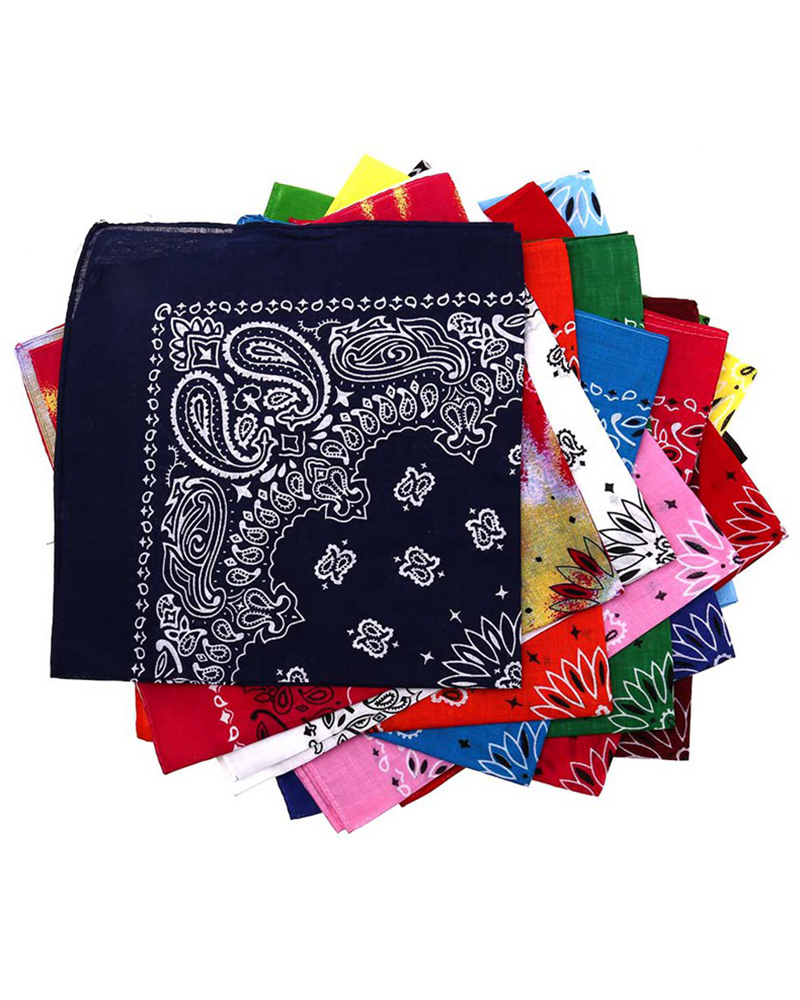 6PCS/package 55*55CM 100% Cotton Paisley Bandana Hip Hop Scarf Head Wrap