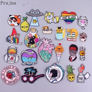 Prajna UFO Cat Embroidered Patches For Clothing Iron On Patches Heart Gay Pride Patch Stickers Stripes Cute Animals Badge