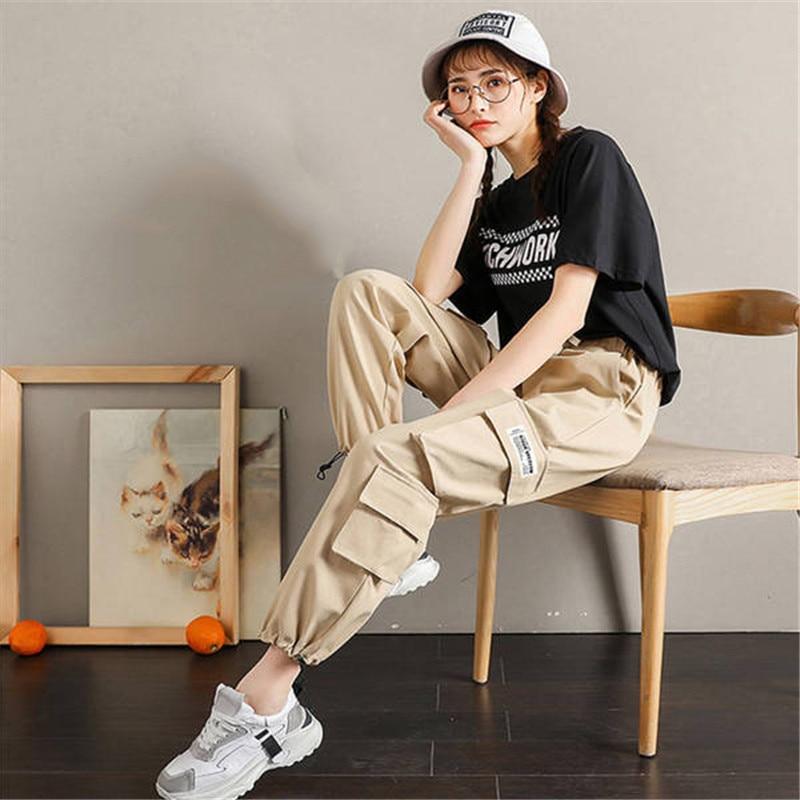 Cool Khaki Cargo Women Cool Streetwear Track   Pants     Capris   Elastic High Waist Trousers Female High Quality Fashion Sweatpants