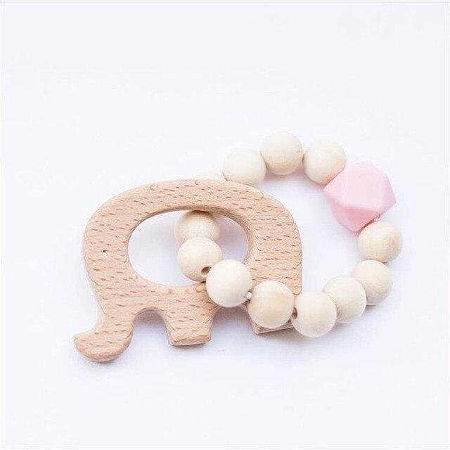 Bracelets de dentition en Silicone pour bébé   En bois, perles de dentition, hochets en bois, jouets pour bébé, anneau de dentition, jouets soins cadeaux