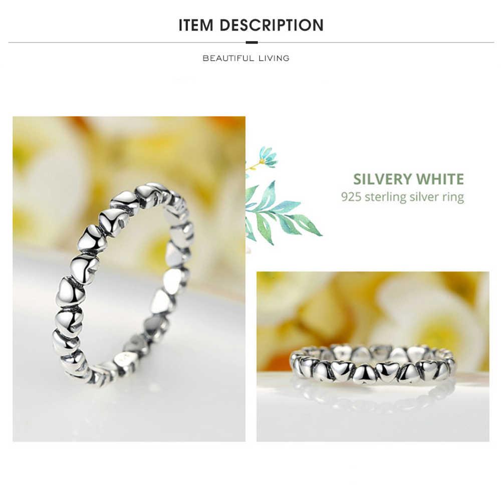 INALIS จริง 925 แหวนเงินแท้ Forever Love Heart แหวนเครื่องประดับของขวัญ GLOBAL SHOPPING FESTIVAL 2020
