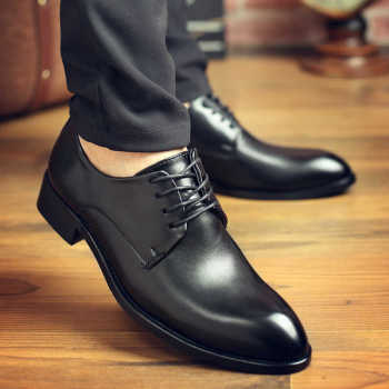 Comfortable Men Dress Shoes High Quality Casual Black Leather Lace-up Formal Gentleman Business Wedding 2020 New - discount item  32% OFF Men's Shoes