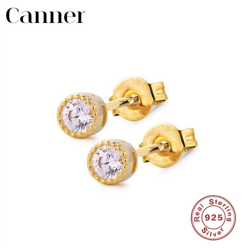 925 Sterling Silver Earrings for Women INS Minimalist Gold Silver Geometric Triangle/Round/Star Stud Earrings Fashion Jewelry